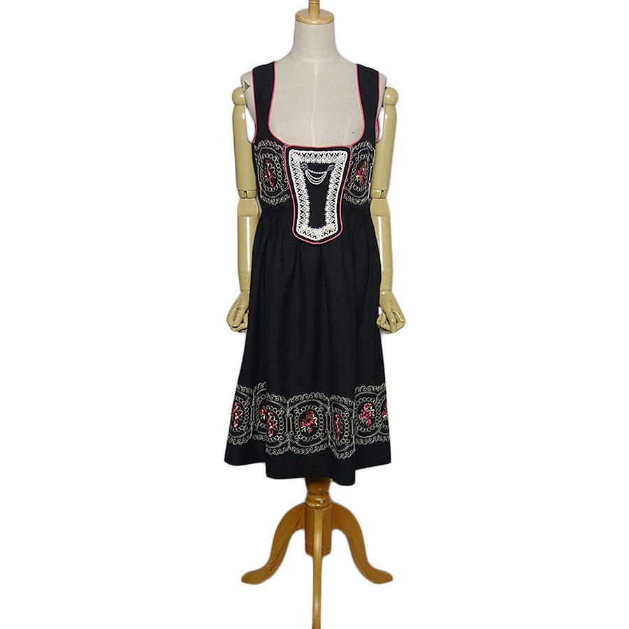 【中古】花柄の刺繍入り ディアンドル チロル ワンピース ドレス レディース Lサイズ位 ヨーロッパ 民族衣装 古着