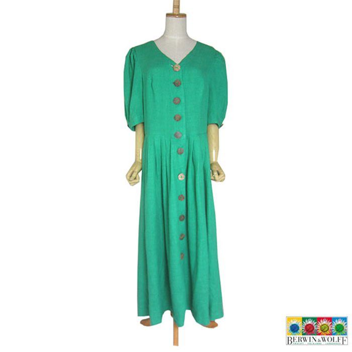 【中古】BERWIN & WOLFF 前開き リネン地 チロル ワンピース レディース XLサイズ位 緑 ヨーロッパ 民族衣装