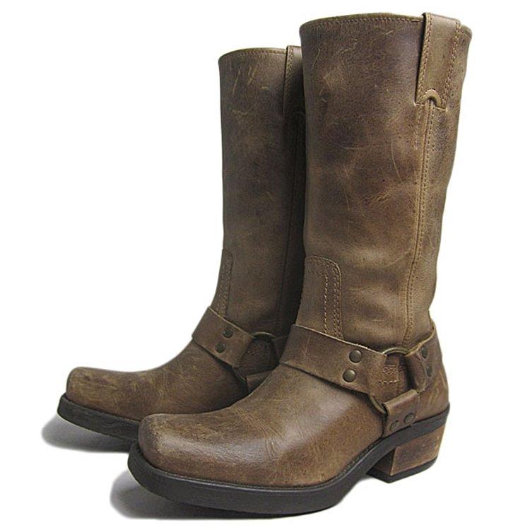 【中古】 リングブーツ 本革 レディース 約23.0cm レザーブーツ 本革 ワークブーツ ユーズド 靴 古着 【異国屋】