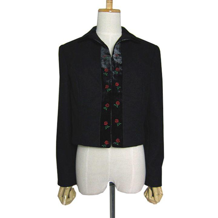 【中古】小花柄の刺繍 ベロア ウール チロル ジャケット レディース Mサイズ位 ヨーロッパ 古着 民族衣装 チロリアン
