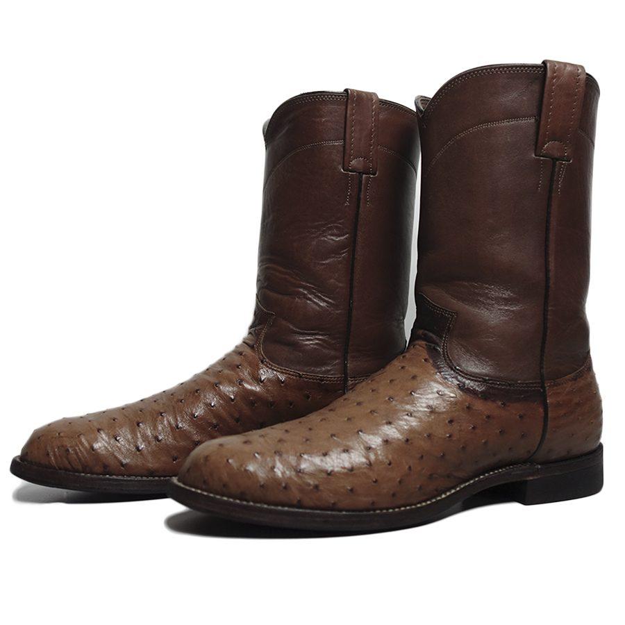 【中古】 アメリカ製 Larry Mahan's オーストリッチ 本革 ウエスタンブーツ メンズ 約27.0cm ユーズド 靴 古着 茶系 ローパーブーツ カウボーイブーツ 【異国屋】