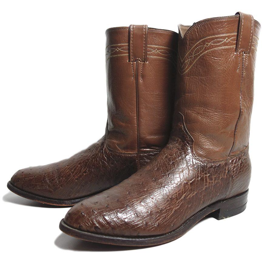 【中古】 アメリカ製 Justin オーストリッチ 本革 ウエスタンブーツ メンズ 約29.0cm ユーズド 靴 古着 茶系 ジャスティン カウボーイブーツ 【異国屋】