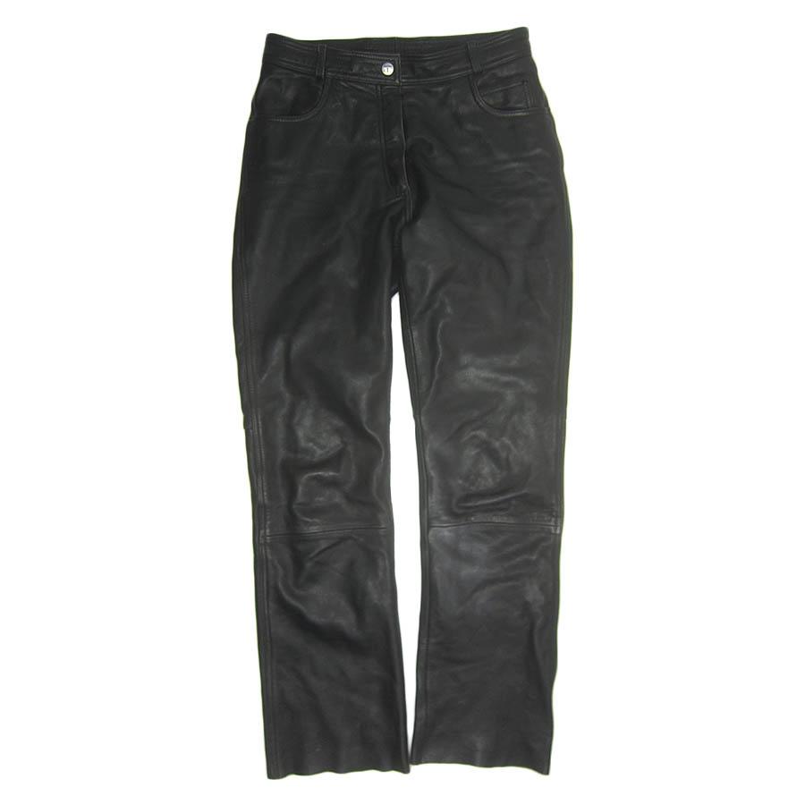 【送料無料】ヨーロッパ HIGHWAY レザーパンツ 黒 メンズ 本革 古着【中古】【異国屋】