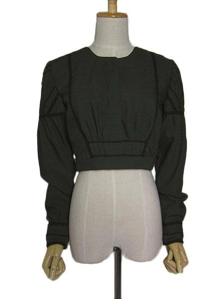 【中古】ユーロ チロル ドレス ジャケット レディース S~M位 チロリアン 濃緑 ヨーロッパ 民族衣装 古着 【異国屋】