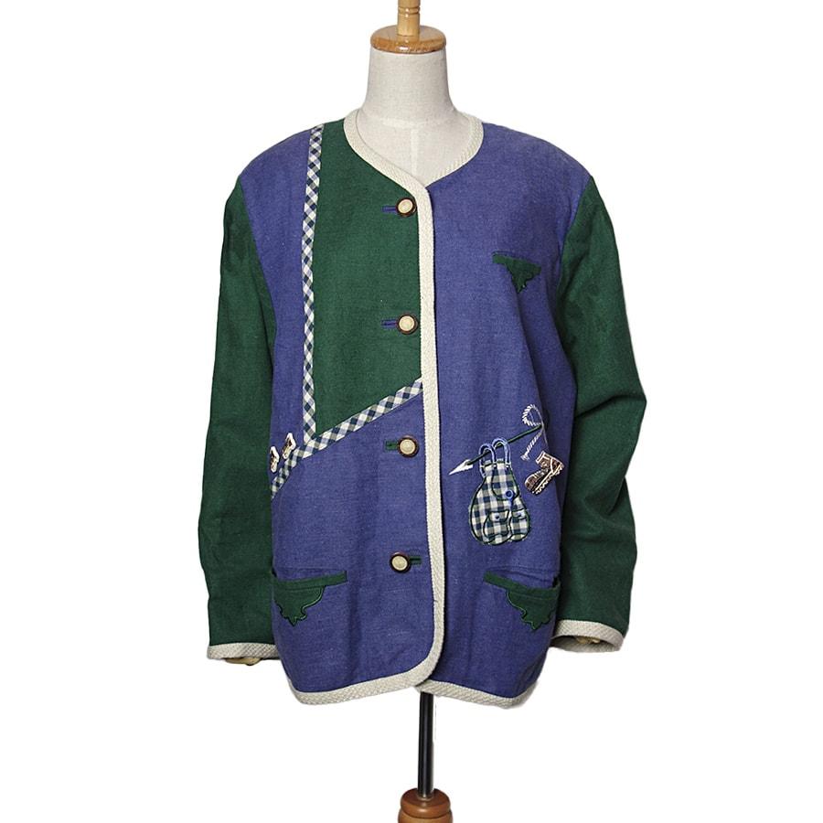 【中古】 M&S チロルジャケット レディース XXLサイズ位 長袖 ヨーロッパ 古着 民族衣装 【異国屋】
