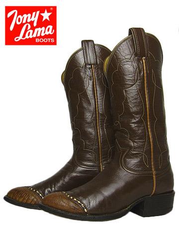 【中古】 トニーラマ TONY LAMA リザード ウイングチップ 本革 ウエスタン ブーツ 31/2C / 約21.5~22.0cm カウボーイブーツ 古着 アメリカ 【異国屋】