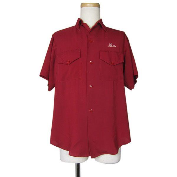 【中古】 60's ARTEX ビンテージ ボウリングシャツ 刺繍 レーヨン ボーリングシャツ USA 古着 ワークシャツ メンズM 半袖 赤 【異国屋】
