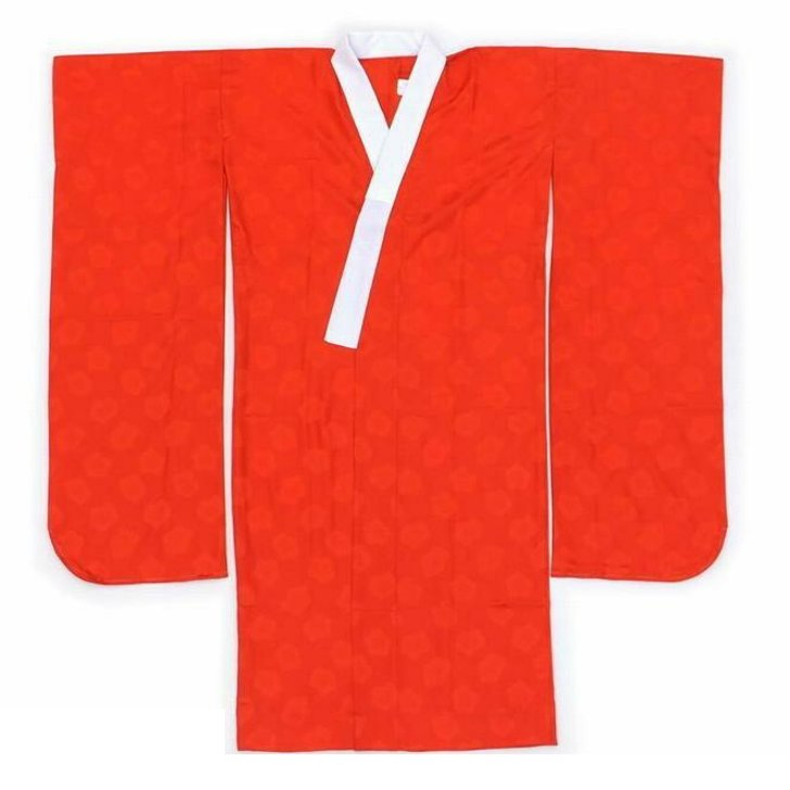 長襦袢 振袖用 和風館などの仕様 梅の地紋 赤オレンジ 白半衿付き