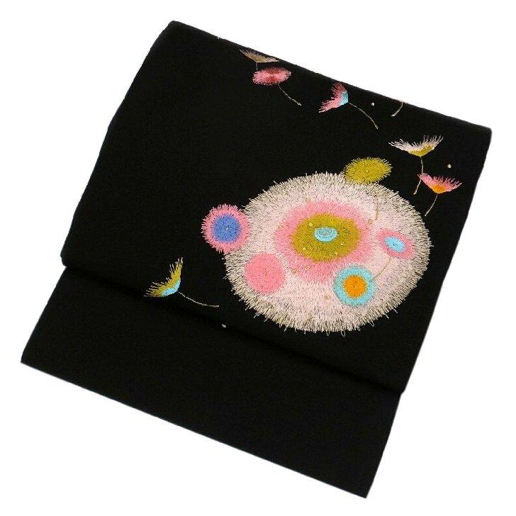 スーパーセール 【30%引】 名古屋帯 刺繍 カラフルな綿毛 黒 現品限り
