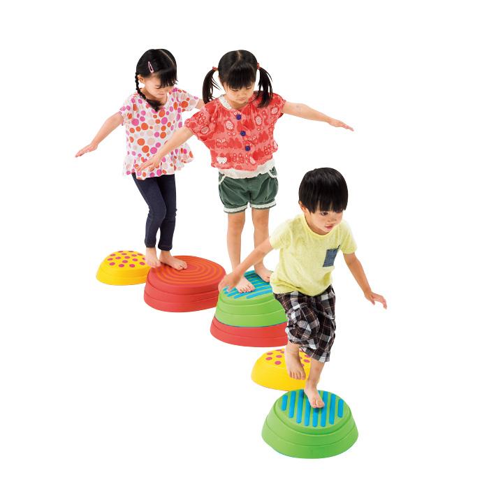 平均台 レインボーバランスストーン (6個組) マスセット 運動 体育 保育園 幼稚園 室内 運動