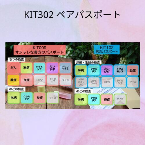 【送料無料】KIT302 アイラボの「ペアパスポート」【あす楽対応】検査項目:子宮頸がん、クラミジア、淋病、トリコモナス、カンジダ、細菌性膣症、膣炎、尿道炎、咽頭炎
