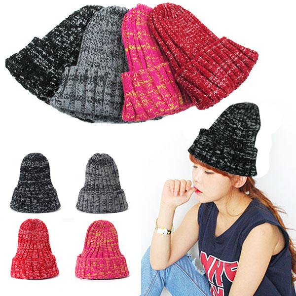 ミックスカラーのビーニー帽 ニットキャップ ニット帽 ミックスカラー 帽子 ビーニー メンズ レディースキャップ 冬 贈答 NEW KNIT 4017b 秋 CAP