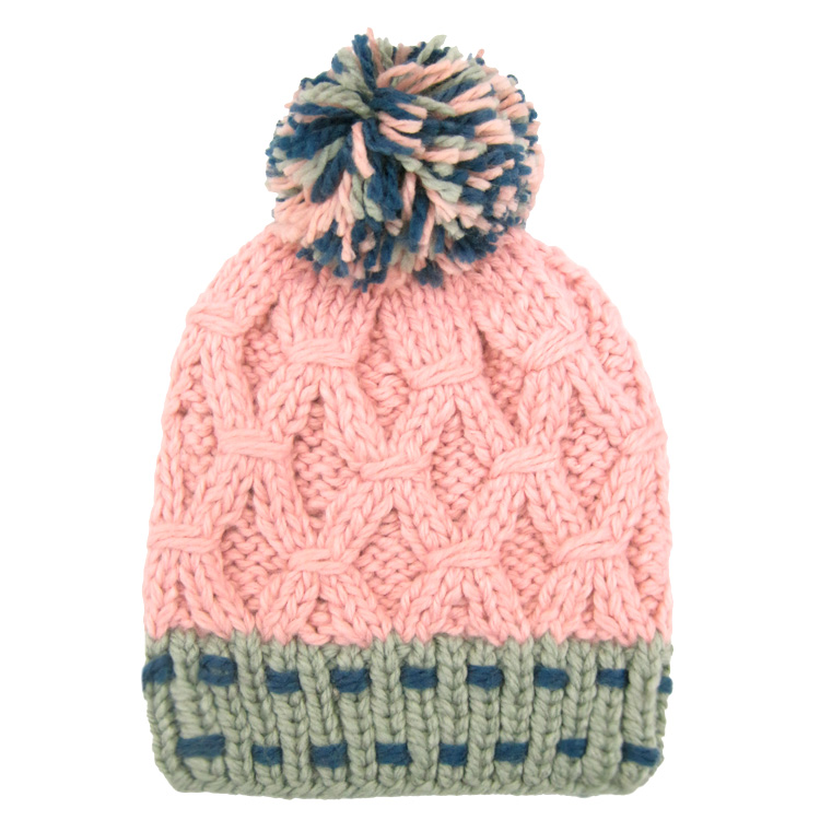 Colorful knit hat with pom poms on the is. ◇ point pattern of seams. 7e098e9b16b