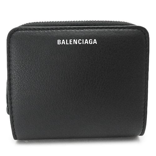 バレンシアガ 折財布 レディース BALENCIAGA 二つ折り財布 黒 ブラック レザー EVERYDAY BILLFOLD 516366 DLQ0N 1000