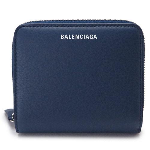 バレンシアガ 折財布 レディース BALENCIAGA ブルー系 レザー EVERYDAY BILLFOLD 516366 DLQ0N 4205