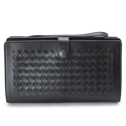 ボッテガヴェネタ クラッチバッグ BOTTEGAVENETA セカンドバッグ メンズ イントレチャート ディテール マルチケース レザー ブラック 黒 302652 VQ122 1000