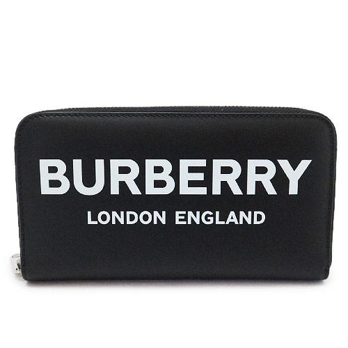 バーバリー 長財布 8009211 A1189/BLACK メンズ BURBERRY ラウンドファスナー ロゴ LG ZIG PRINTED BLE LEATHER レザー ブラック 黒