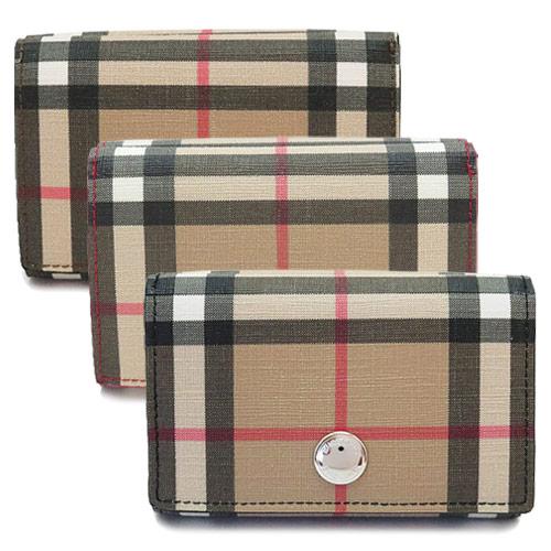 バーバリー 折財布 レディース 8015129/8015130/8015346 BURBERRY 三つ折り スモール ヴィンテージチェック Eキャンバス フォールディングウォレット
