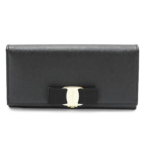 フェラガモ 長財布 Ferragamo 財布 二つ折り ブラック22A900 0588250/NERO×GD/0007 0066【I LOVE BRAND/】