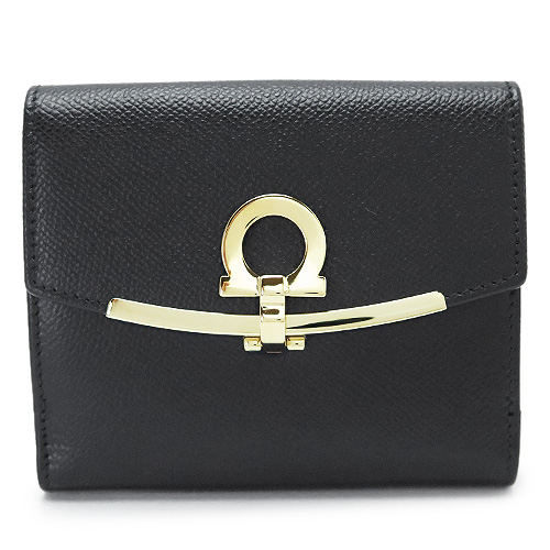 フェラガモ 折財布 レディース 黒 22C877 0673998 NERO Salvatore Ferragamo 二つ折り ガンチーニ ブラック