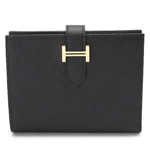 エルメス 折財布 レディースHERMES 財布 二つ折り ベアン コンパクト エプソン レザー ブラック 黒 BEARN BLACK/GD