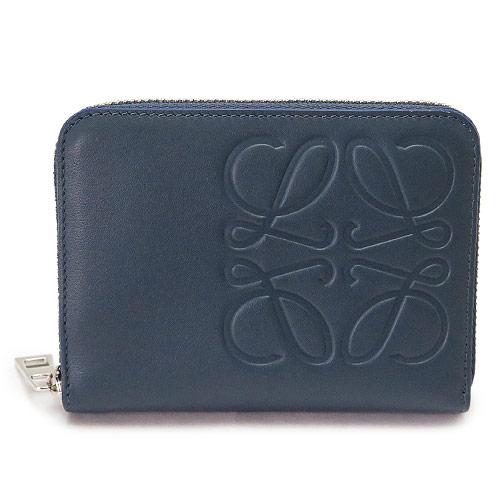 ロエベ カードケース コインケース 106.54AV32 6490 LOEWE 財布 小銭入れ ラウンドファスナー アナグラム レザー スチールブルー BRAND 6 CARD ZIP WALLET STEEL BLUE