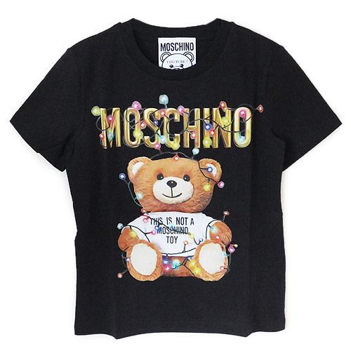 モスキーノ Tシャツ レディース MOSCHINO コットン Teddy Bear HolidayジャージTシャツ ブラック 3XA0798 4040 1555【2019年春夏新作】