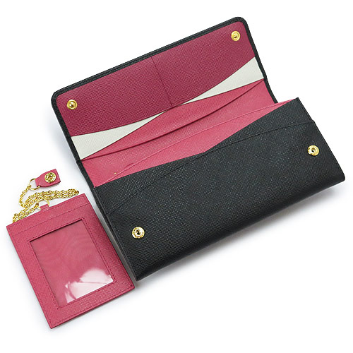 "Prada long wallet PRADA wallet two-fold flaps ""2015 new fall ' with saffiano leather case with leather Nero x I Visco 1MH132 ZLP F 061 H / SAFFIANO MULTIC NERO+IBISCO 1 m 1132 (old model)"