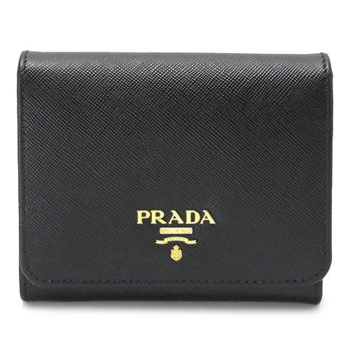 プラダ 折財布 PRADA ブラック 1MH176 QWA F0002/SAFFIANO METAL NERO 【I LOVE BRAND/】