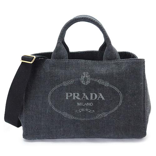 プラダ トートバッグ PRADA ブラック プラダ カナパ 1BG642 AJ6 F0002/DENIM NERO 【I LOVE BRAND/】