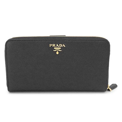 プラダ 長財布 レディース 1ML348 QWA F0002/SAFFIANO METAL NERO PRADA 財布 ラウンドファスナー サフィアーノメタル レザー ブラック 黒