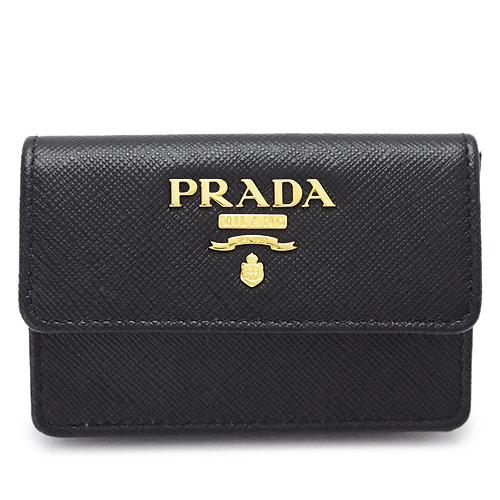 プラダ カードケース 1MC881 QWA F0002/SAFFIANO METAL NERO PRADA 名刺入れ サフィアーノメタル 型押しレザー ブラック 黒【I LOVE BRAND/】