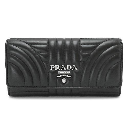 プラダ 長財布 PRADA 1MH132 2B0X F0002/NAPPA IMPUNTURE レディース 財布 パスケース付 レザー ブラック 黒