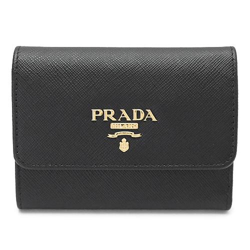プラダ 折財布 1MH840 QWA F0002/SAFFIANO METAL NERO PRADA 三つ折り財布 サフィアーノメタル レザー ブラック