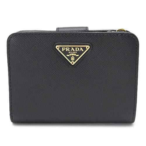 プラダ 折財布 レディース PRADA 1ML018 QHH F0002 財布 二つ折り サフィアーノトライアングル SAFFIANO TRIANG NERO レザー ネロ 黒