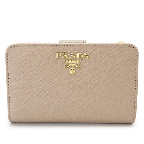プラダ 折財布 レディース PRADA サフィアーノメタル レザー チプリア ベージュ系 1ML225 QWA F0236/SAFFIANO METAL CIPRIA