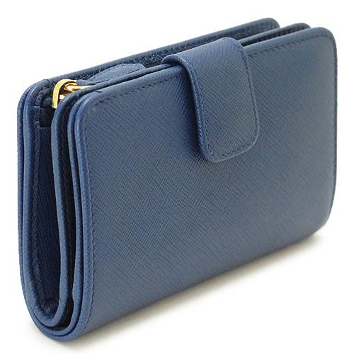 プラダ 折財布 PRADA 財布 二つ折り レザー ブリエッタ 1ML225 QWA F0016/SAFFIANO METAL BLUETTE
