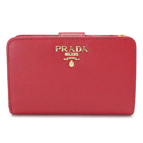 プラダ 折財布 PRADA 財布 二つ折り サフィアーノメタル 型押しレザー フォーコ 1ML225 QWA F068Z/SAFFIANO METAL FUOCO