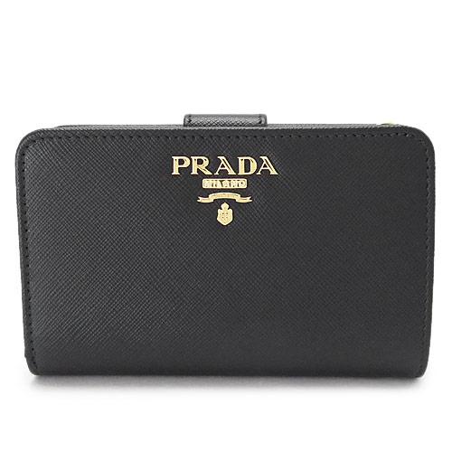 プラダ 折財布 PRADA 財布 レザー ブラック 黒 1ML225 QWA F0002/SAFFIANO METAL NERO