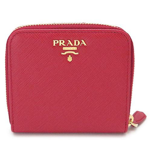 プラダ 折財布 PRADA 財布 二つ折り フォーコ 赤 1ML522 QWA F068Z/SAFFIANO METAL FUOCO