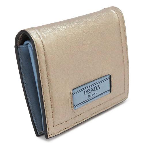 b25d1b16c6ce プラダ 折財布 PRADA レディース 財布 エティケット レザー ゴールド×ライトブルー系 1MV204 2BMU F0XD5/GLACE  CALF+CITY QUARZO M/ASTRALE -レディース財布