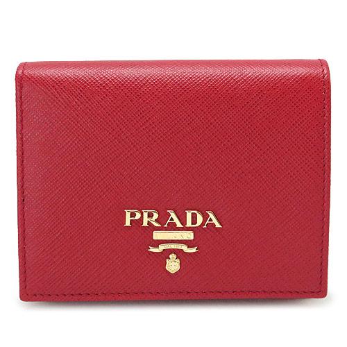 プラダ 折財布 PRADA 財布 二つ折り サフィアーノメタル 型押しレザー フォーコ レッド系 赤 1MV204 QWA F068Z/SAFFIANO METAL FUOCO