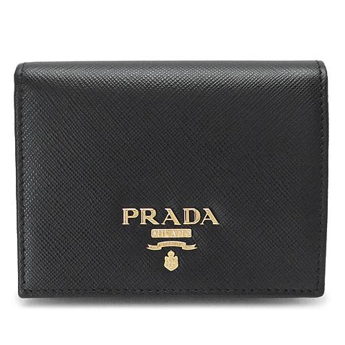 プラダ 折財布 PRADA 1MV204 QWA F0002/SAFFIANO METAL NERO 財布 ブラック 黒