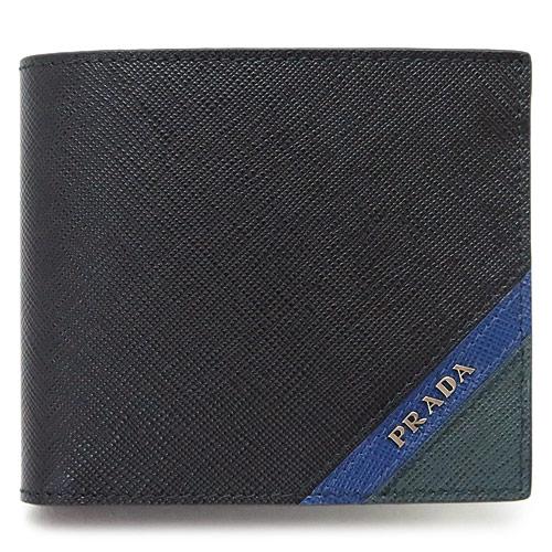 プラダ 折財布 PRADA メンズ 財布 レザー ブラック×ブリエッタ×スメアー 2MO738 2EGO F0575/SAFFIANO STRIPE NERO+BLUETTA+SM