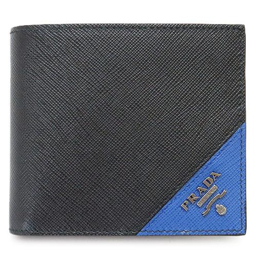 プラダ 折財布 メンズ財布 ブラック×アズーロ PRADA 2MO738 QME F014B 【I LOVE BRAND/】