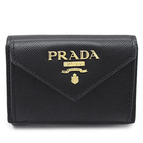 プラダ 折財布 PRADA 財布 三つ折り レザー 1MH021 QWA /SAFFIANO METAL