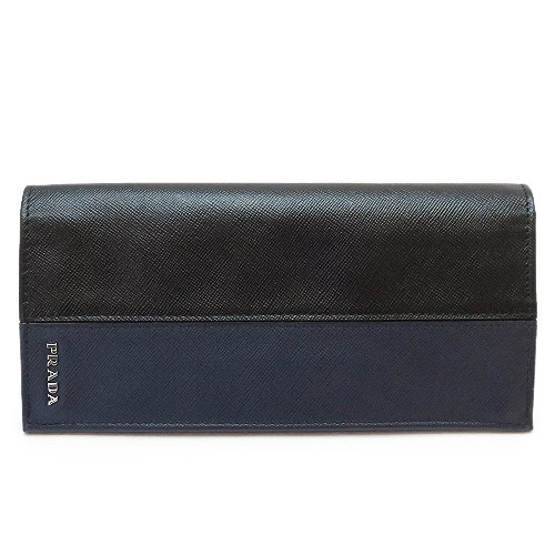プラダ 長財布 PRADA 二つ折り 2M0836 SAFFIANO COLOR NERO+BALTICO メンズ財布 サフィアーノカラー レザー ネロ×バルティコ