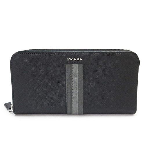 プラダ 長財布 メンズ PRADA 財布 2ML317 2AJS F0632 ラウンドファスナー レザー ネロ ブラック 黒 サフィアーノライン