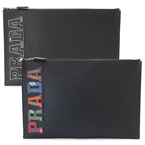 プラダ クラッチバッグ メンズ PRADA 2NG001 2EDJ SAFFIANO CHARAC ドキュメントホルダー ロゴ レザー