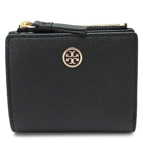 トリーバーチ 折財布 レディース TORYBURCH ミニ財布 レザー 黒 ブラック×ネイビー 47124 018 BLACK/ROYAL NAVY